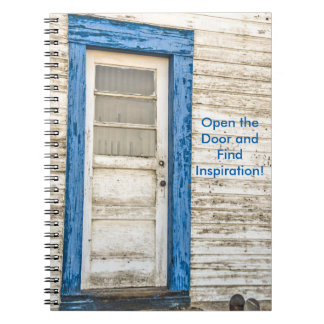 Blue-framed Door with Weathered Paint Spiral Notebook