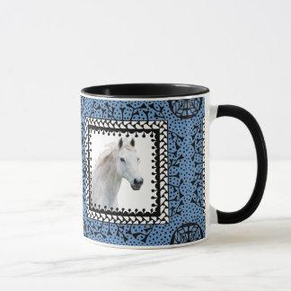 Blue Framed Horse Mug