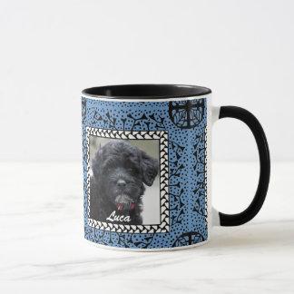 Blue Framed Puppy Mug
