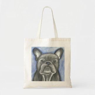Blue French Bulldog attitude tote