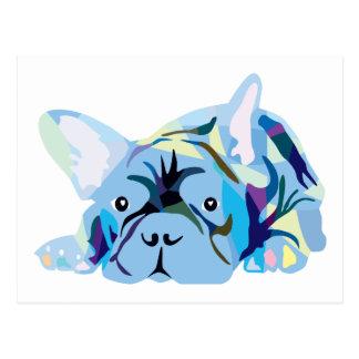Blue French Bulldog Postcard