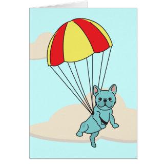 Blue French Bulldog Umbrella Fun Greeting Card