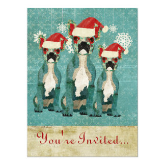 Blue French Bulldogs Holiday Invitation