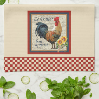 Blue French Country Kitchen Rooster Kitchen Towel