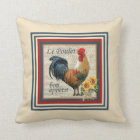Blue French Country Rooster Throw Pillow