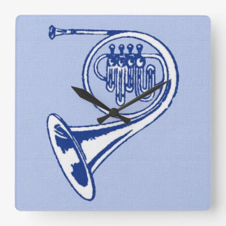 Blue French Horn Art Square Wall Clock