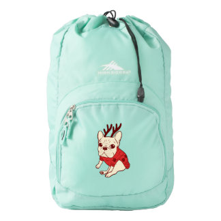 Blue Frenchie in Christmas Sweater Backpack
