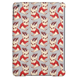 Blue Frenchie in Christmas Sweater iPad Air Cover