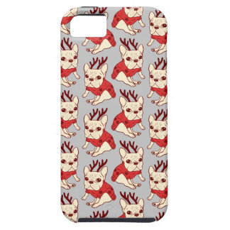 Blue Frenchie in Christmas Sweater iPhone 5 Cover