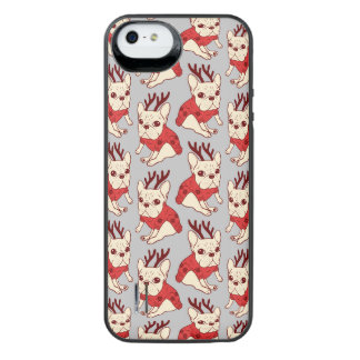 Blue Frenchie in Christmas Sweater iPhone SE/5/5s Battery Case
