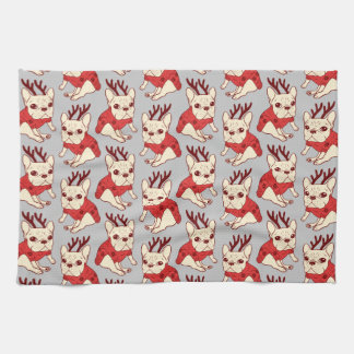 Blue Frenchie in Christmas Sweater Kitchen Towel