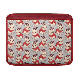 Blue Frenchie in Christmas Sweater MacBook Air Sleeves