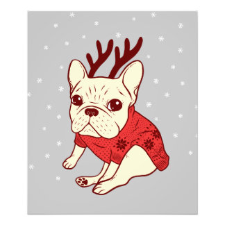 Blue Frenchie in Christmas Sweater Photo Print