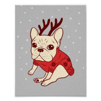 Blue Frenchie in Christmas Sweater Poster