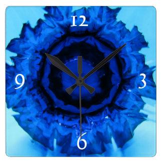 Blue Frizzle Square Clock