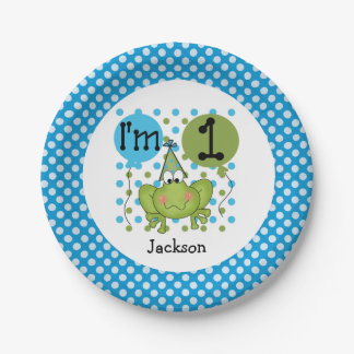 Blue Frog 1st Birthday Paper Plates