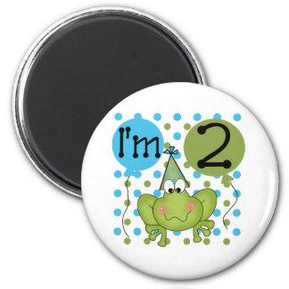 Blue Frog 2nd Birthday 2 Inch Round Magnet
