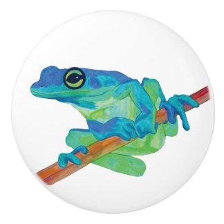 Blue Frog Ceramic Knob