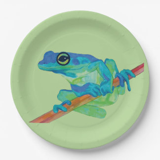 Blue Frog Paper Plate