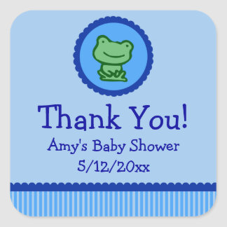 Blue Frog Personalized Baby Shower Favor Tags
