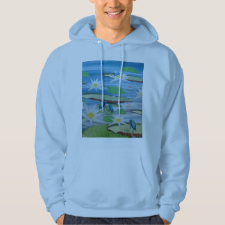 Blue Frogs On Lily Pads, Hoodie