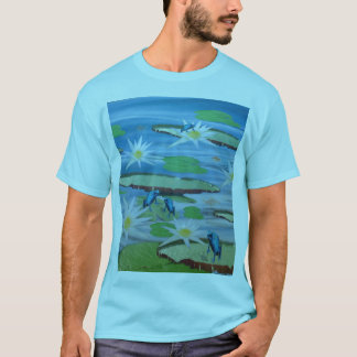 Blue Frogs On Lily Pads, T-Shirt