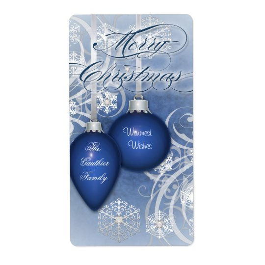 Blue Frosted Flourishes Holiday Wine Label