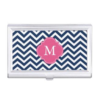 Blue & Fuchsia Zigzags Pattern Monogrammed Business Card Holder