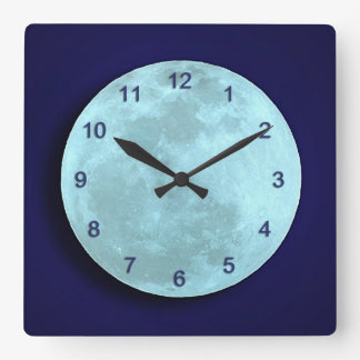 Blue Full Moon Wall Clock