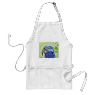 Blue Fun Loving Parrot on Green Background Adult Apron