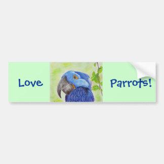 Blue Fun Loving Parrot on Green Background Car Bumper Sticker