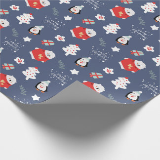 Blue Fun Merry Christmas Pattern Wrapping Paper