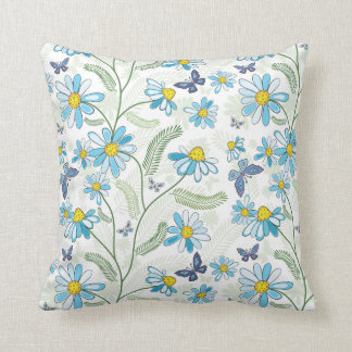 Blue Funky Daisy and Ferns Pattern Throw Pillow