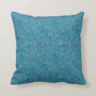Blue funky fur pillow