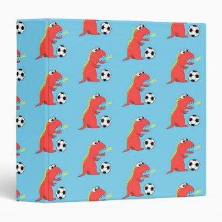 Blue Funny Cartoon Dinosaur Soccer Pattern Binder
