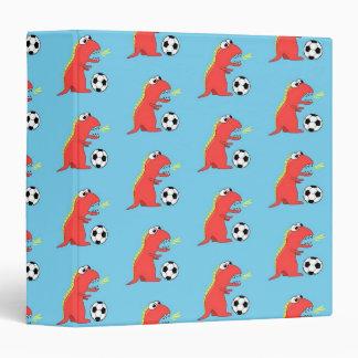 Blue Funny Cartoon Dinosaur Soccer Pattern Binder