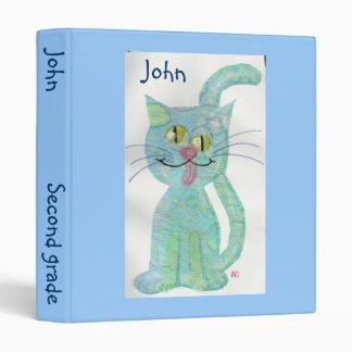 Blue funny cat schoolbinder binder