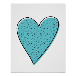 Blue furry hearts kids poster print