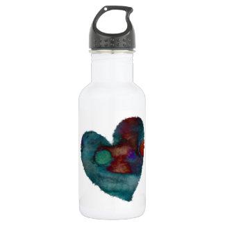 Blue Fuzzy Heart Water Bottle