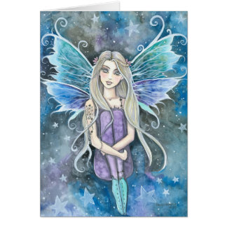 Blue Galaxy Fairy Card by Molly Harrison