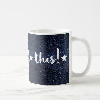 Blue Galaxy Motivational message mug