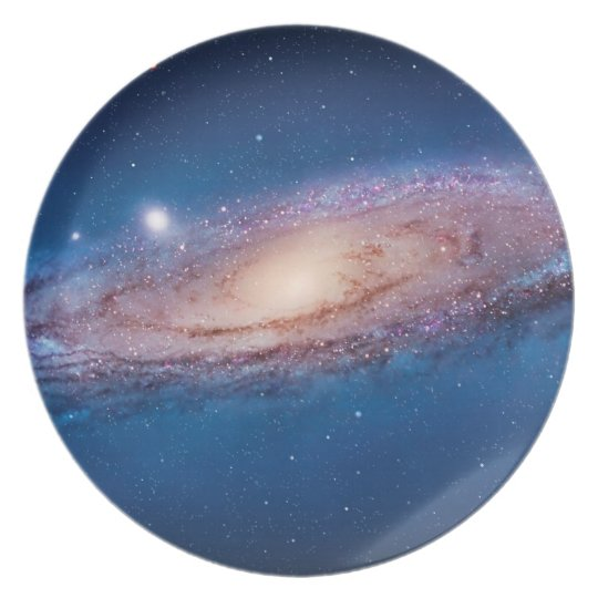 blue galaxy plate