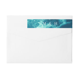 Blue Galaxy Satellite Starry Monogram Address II Wrap Around Label