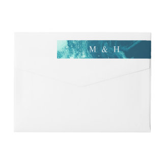 Blue Galaxy Satellite Starry Monogram Address Wrap Around Label