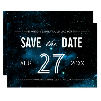Blue Galaxy Save the Date Cards