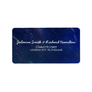 Blue Galaxy Wedding Address Label