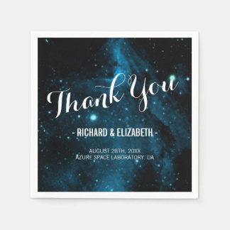 Blue Galaxy Wedding Thank You Napkins Paper Napkins