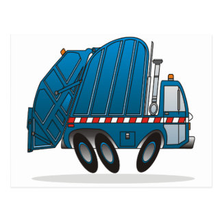 Blue Garbage Truck Postcard