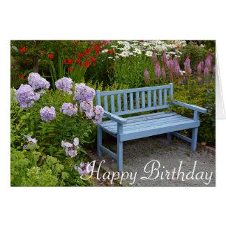 Blue garden bench card