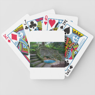 Blue Garden Fountain Bicycle Playing Cards